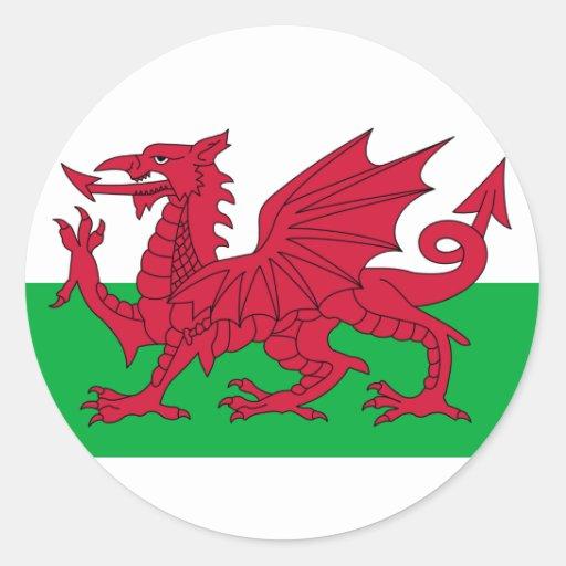 Drapeau du Pays de Galles Adhésifs Ronds