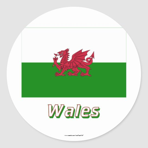 Drapeau du Pays de Galles avec le nom Adhésifs Ronds