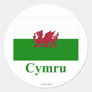 Drapeau du Pays de Galles avec le nom dans Gallois Adhésifs Ronds