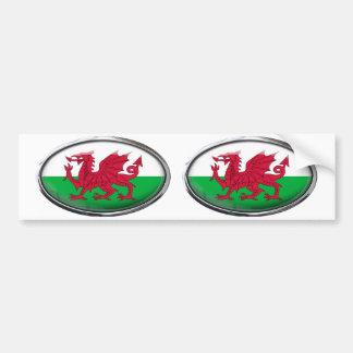 Drapeau du Pays de Galles dans l'ovale en verre Autocollant Pour Voiture