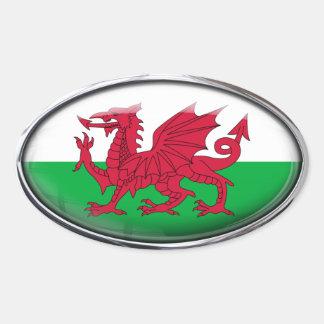 Drapeau du Pays de Galles dans l'ovale en verre Sticker Ovale