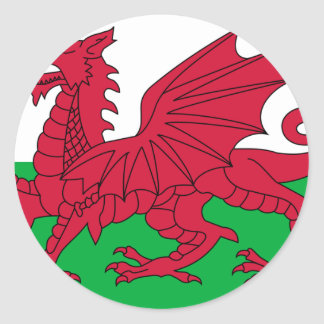 Drapeau du Pays de Galles - le dragon rouge - Sticker Rond