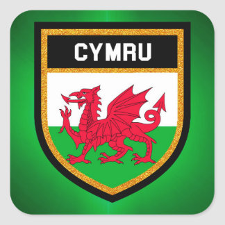 Drapeau du Pays de Galles Sticker Carré