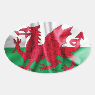 Drapeau du Pays de Galles Sticker Ovale