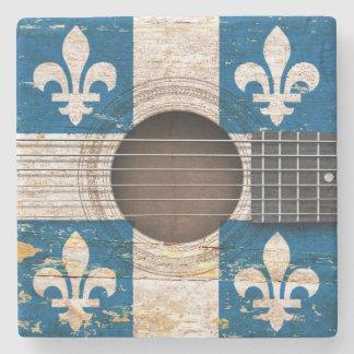 Drapeau du Québec sur la vieille guitare Sous-bock En Pierre