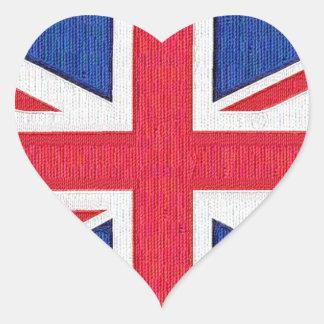 Drapeau du Royaume-Uni - amour d'I le R-U Autocollants En Cœur