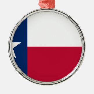 Drapeau du Texas - fierté texane Ornement Rond Argenté