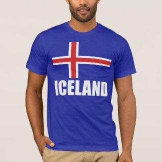 Drapeau du texte blanc de l'Islande sur le bleu T-shirt