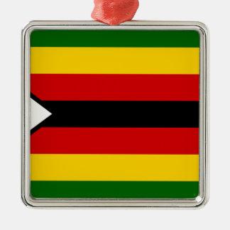 Drapeau du Zimbabwe - Zimbabwéen - weZimbabwe de Ornement Carré Argenté