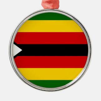 Drapeau du Zimbabwe - Zimbabwéen - weZimbabwe de Ornement Rond Argenté