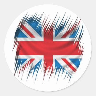 Drapeau d'Union Jack de défibreurs Sticker Rond