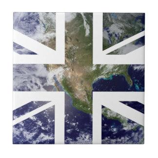 Drapeau d'Union Jack les Anglais (R-U) de la terre Petit Carreau Carré