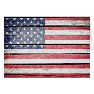 Drapeau en bois américain d'image cartes de vœux
