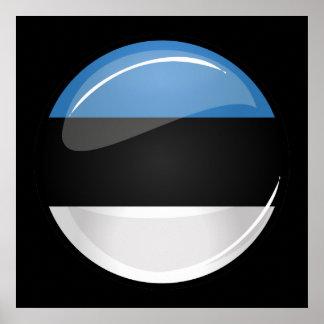 Drapeau estonien rond brillant poster
