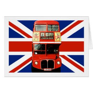 Drapeau et autobus britanniques de Londres Carte De Vœux