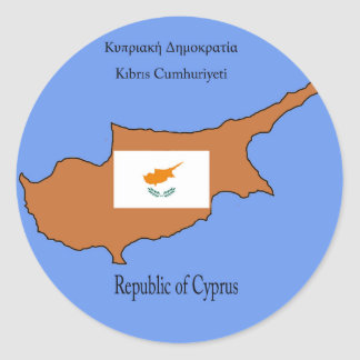 Drapeau et carte de la république de Chypre Sticker Rond