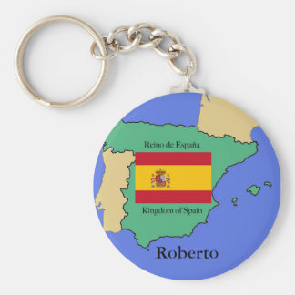 Drapeau et carte de l'Espagne Porte-clé Rond