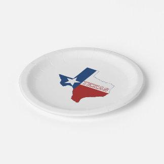 Drapeau et carte d'état du Texas Assiettes En Papier