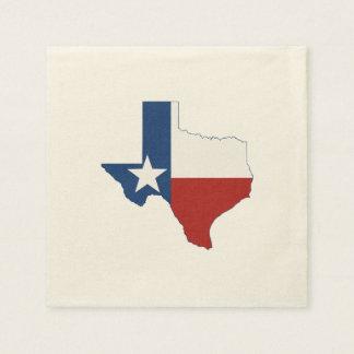 Drapeau et carte d'état du Texas Serviettes En Papier