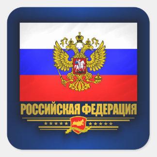 Drapeau et emblème de Fédération de Russie Sticker Carré