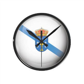 Drapeau et escudo de la Galice Horloge Ronde
