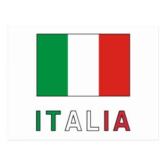 Drapeau et mot de l'Italie Cartes Postales