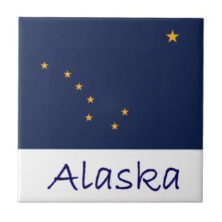 Drapeau et nom de l'Alaska Carreau