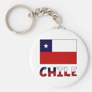 Drapeau et nom du Chili en couleurs Porte-clé Rond