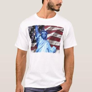 Drapeau et statue de conception de liberté t-shirt