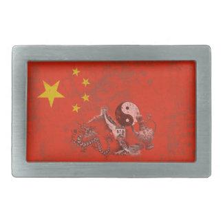 Drapeau et symboles de la Chine ID158 Boucle De Ceinture Rectangulaire
