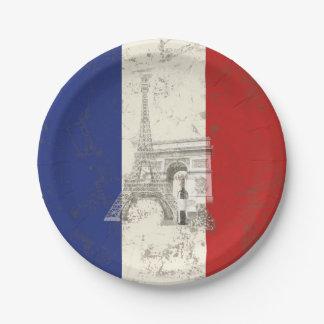 Drapeau et symboles de la France ID156 Assiettes En Papier