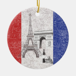 Drapeau et symboles de la France ID156 Ornement Rond En Céramique
