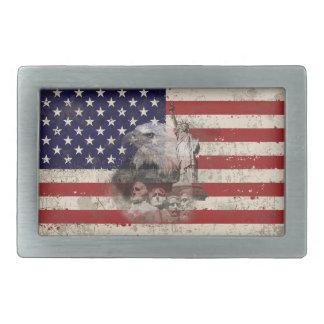 Drapeau et symboles des Etats-Unis ID155 Boucles De Ceinture Rectangulaires