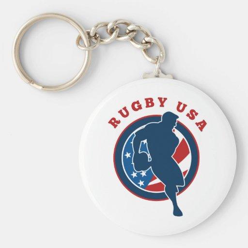 drapeau Etats-Unis Amérique de joueur de rugby Porte-clé