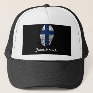 Drapeau finlandais d'empreinte digitale de contact casquette
