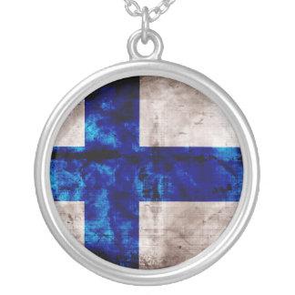 Drapeau finlandais pendentif rond