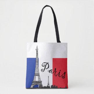 Drapeau français et Tour Eiffel et le mot Paris Sac