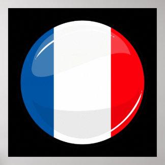 Drapeau français rond brillant poster