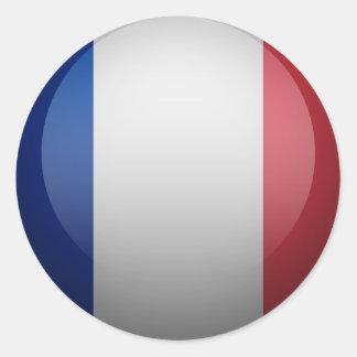drapeau français sticker rond
