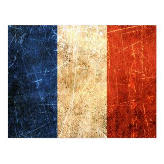 Drapeau français vintage rayé et porté carte postale