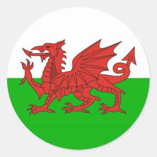 drapeau gallois les anglais de dragon de pays du sticker rond