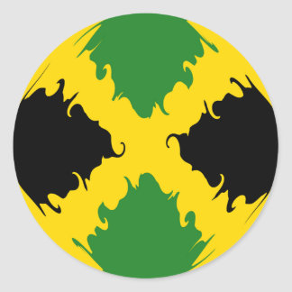 Drapeau Gnarly de la Jamaïque Autocollant Rond