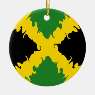 Drapeau Gnarly de la Jamaïque Ornement Rond En Céramique