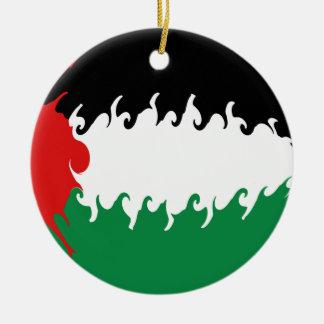 Drapeau Gnarly de la Palestine Ornement Rond En Céramique