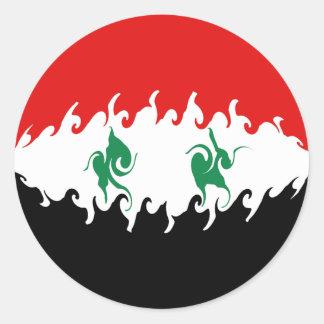 Drapeau Gnarly de la Syrie Adhésifs Ronds