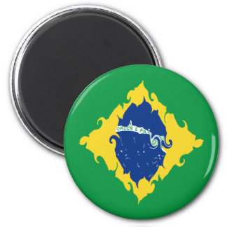 Drapeau Gnarly du Brésil Magnet Rond 8 Cm