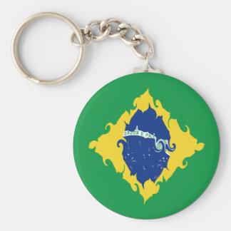 Drapeau Gnarly du Brésil Porte-clé Rond