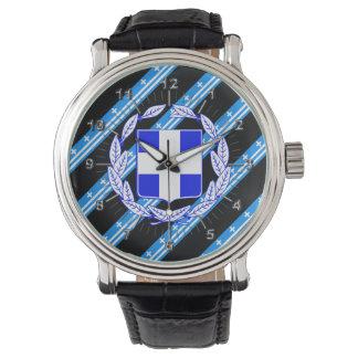 Drapeau grec de rayures montres bracelet