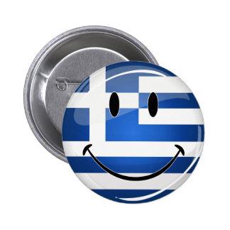 Drapeau grec de sourire badge rond 5 cm