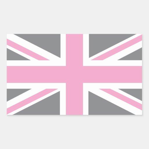 Drapeau gris rose d 39 union jack les anglais r u sticker rectangulaire - Drapeau anglais gris ...